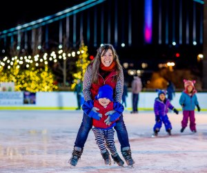 Sharpen your skates, mask up, and hit the ice at Blue Cross RiverRink Winterfest. Photo by J. Fusco for Visit Philadelphia