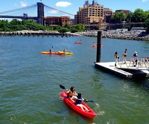 Kids can join parents in kayaks at Brooklyn Bridge Park. Photo courtesy the Brooklyn Bridge Park Boathouse