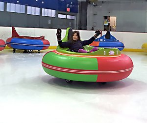Aviator Sports is the  first to have ice bumper cars in Brooklyn, bringing a completely new experience to the ice rink.