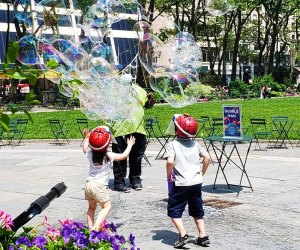 Open your eyes to the magical world of bubbles with Bubble Man at Bryant Park. Photo courtesy of Bryant Park
