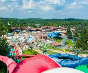 The outdoor water park, Camelbeach, is surrounded by trees and mountains. Photo courtesy the resort