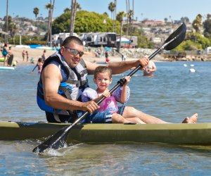SoCal Campgrounds with Extra Entertainment For Kids: kayaking at Campland on the Bay