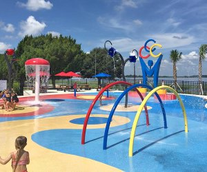 The colorful gated splash pad at Champions Splash Park is a hit with kids in Clermont. Photo courtesy of Winter Garden Adventure