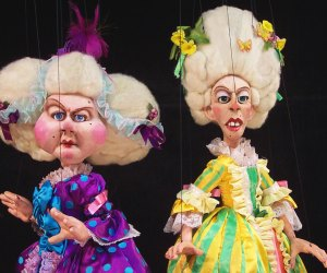 Stepsisters Charlotte and Henriette from the Tanglewood Marionettes production of Cinderella. Photo courtesy of Tanglewood Marionettes