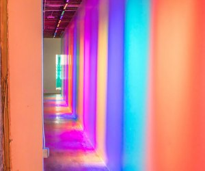 Walk down a hallway of color to beautiful and exciting discoveries at the Color Factory.