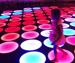 The light-up disco floor at the Color Factory is a kid favorite.