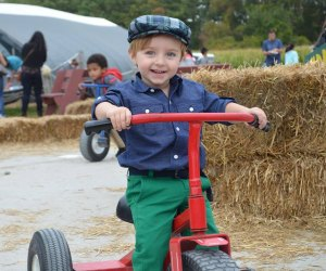 Connors Farm has apples, corn mazes, and ride-ons among the haystacks!
