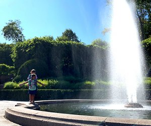 Kids can frolic around the Conservatory Garden Fountain.