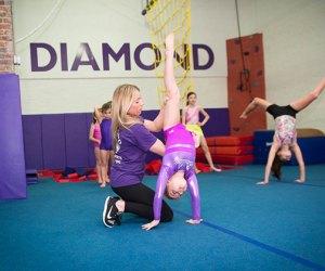 Diamond Gymnastics in Hoboken trains kids from 15 months old through high school.