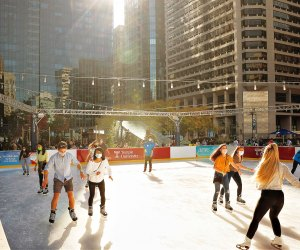 Lace up your skates and take a spin at the Dilworth Park Ice Rink. Photo courtesy of Center City District