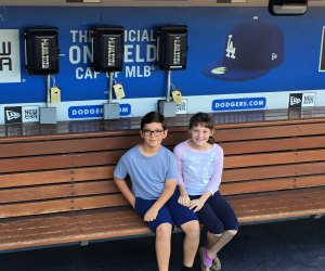 Kids can sit in the dugout when touring Dodger Stadium. Photo by Meghan Rose