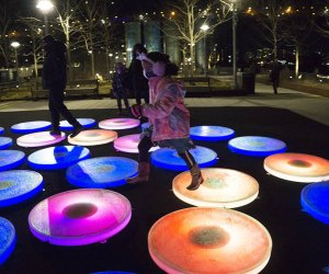 Reflect at Domino Park is fun for all ages with its light-up circles that respond to footsteps.