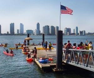 Kayak dock at Pier 26 in the Hudson River