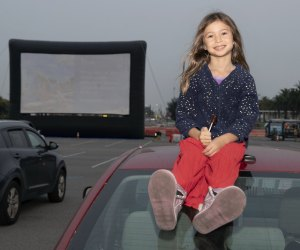 Inflatable screens and sitting on the car is all part of the fun. Photo courtesy of City of Irvine