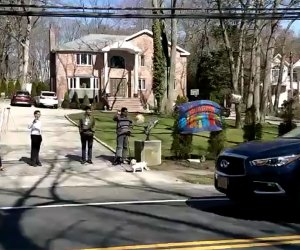 Honk for a happy birthday at a drive-by birthday celebration.
