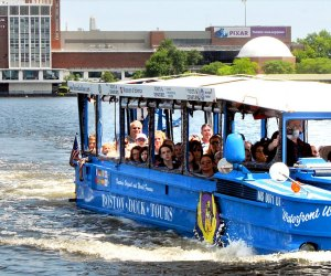 This duck goes by water and land. Photo courtesy of Boston Duck Tours