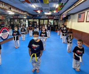 Kids as young as age 3 are welcomed to martial arts classes at Eagles Taekwondo in Flushing.