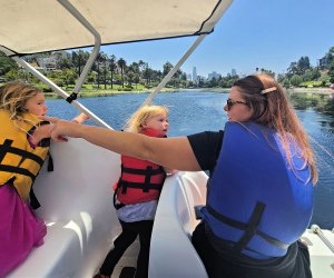 Take a paddle around the lake on one of the swan boats at Echo Park Lake.