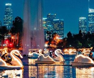 Echo Park Lake swan boats light up the night.