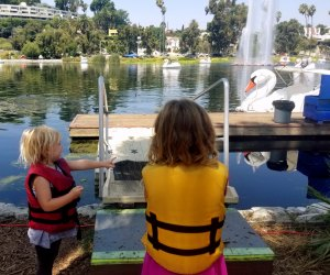 Life jackets on before getting on the swan boats at Echo Park Lake.