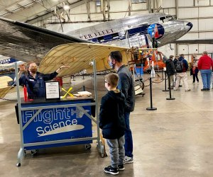 Staff members are on hand to explain the historic aircraft. Photo courtesy of the New England Air Museum