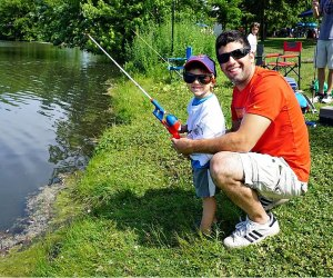 Fishing at Eldridge Park Pond. Photo courtesy of Eldridge Park District