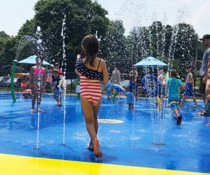 The Sgt. Paul Tuozzolo Memorial Spray Park thrills kids young and old. Photo by Jen Tomeo