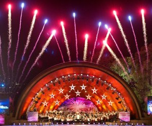 Fireworks rise over a concert at the Esplanade. Photo courtesy of Massachusetts Office of Travel & Tourism