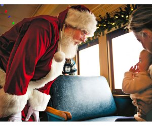 St. Nick climbs aboard the Santa Special Train Ride in Essex. Photo courtesy of Essex Steam Train
