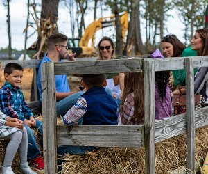 Hayrides and big rigs await on a fall day trip to Diggerland. Photo courtesy of the theme park
