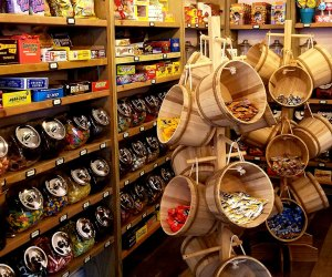 Baskets and shelves overflow with Fferins vast candy selection