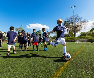 Kids learn soccer skills and the fundamentals of the game as part of the Free Football for All program sponsored by NYCFC and Fidelis Care. Photo courtesy of Fidelis Care