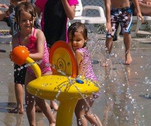Toddlers at Quassy water park splash pad