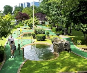 Flushing Meadows' mini-golf course offers 18 beautifully landscaped holes, with streams and waterfalls.
