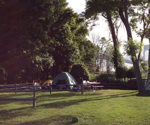 Tents set-up at Staten Island Fort Wadsworth campsite