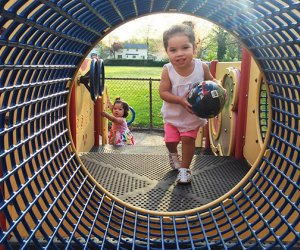 Crawl through the tubes at Fraser Avenue Park in North Merrick.
