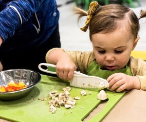 Even the littlest one learn to chop at Freshmade NYC.