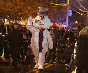 "Frosty marches ""down the streets of town."" Photo courtesy of the event organizer."