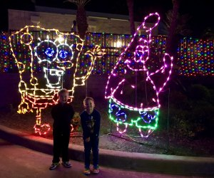 The Festival of Lights at Moody Gardens features plenty of kid-friendly light exhibits featuring characters like Spongebob.