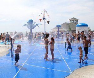 Cool down at Geiger Lake Memorial Park's spray playground in Wyandanch. Photo courtesy of the park