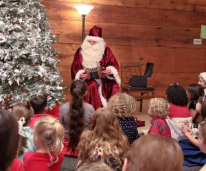 Santa visits for an old-fashioned tea that includes crafts and games in Waltham, Photo courtesy of Gore Place