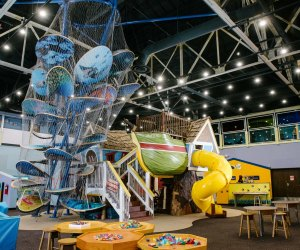 a climbing play structure in the museum