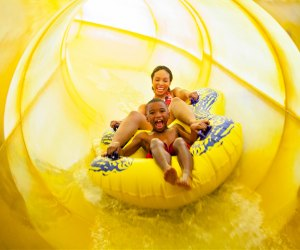 Take a ride on the slide at Great Wolf Lodge.