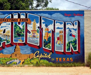 The Greetings from Austin mural on 1st Street. Photo courtesy of Visit Austin