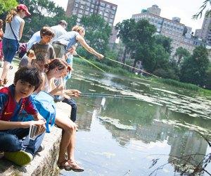 Kids fishing in the Harlem Meer