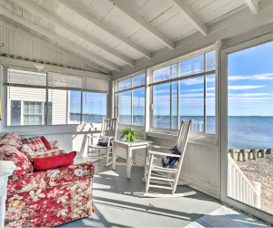 Hawk's Nest cozy cottage in Connecticut includes a private beachfront. Photo courtesy of Airbnb