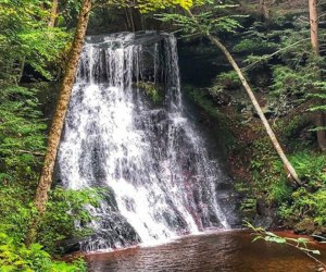 Hiking to Hemlock Falls is a beautiful fall activity for families