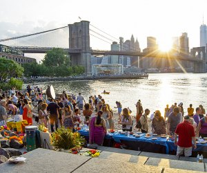 The annual Hindu Lamp Ceremony takes place amidst a stunning backdrop at Brooklyn Bridge Park's Pebble Beach. Photo by Kathrine Gray