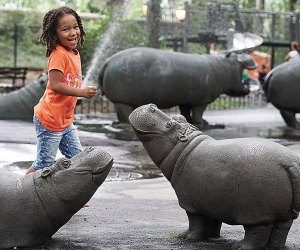 Sassy spraying hippos are kid-pleasing New York City playground residents.