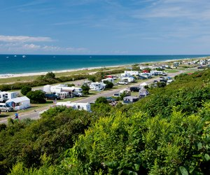 RVs line the beachfront camping spots at Hither Hills State Park